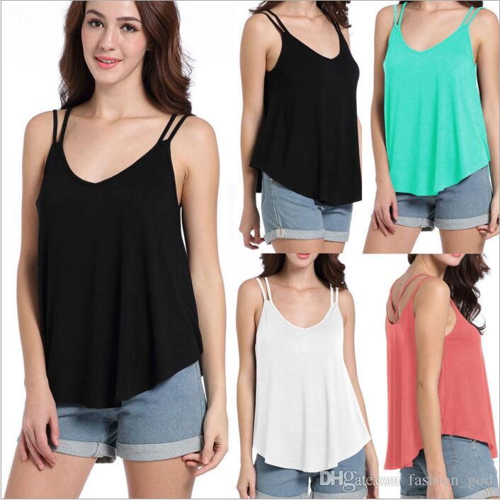 2019 Loose Undershirt Fashion Casual Tops Summer Sexy Tees Female Casual  Blouse V Neck Vest Sleeveless Camis Tanks Sun Top Women Clothing B2580 From  ...