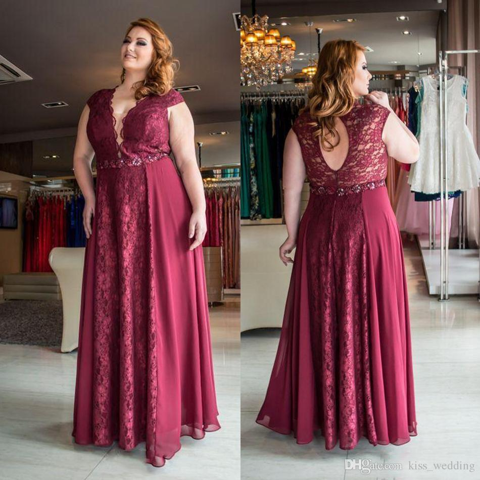 Elegant Plus Size Special Occasion Dresses Dark Red Lace Chiffon Long Party  Robes De Soiree A Line Floor Length Evening Prom Dress Cheap Boutique  Evening ...