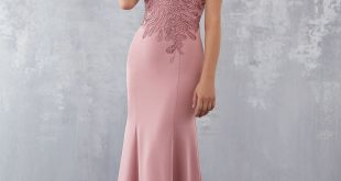 Crepe Special Occasion Dress with Beading and Embroidered Appliqués