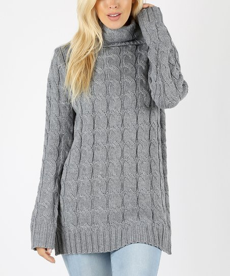 Heather Gray Cable-Knit Turtleneck Sweater - Women