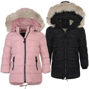 Image is loading Girls-Long-Down-Quilted-Winter-Jacket-Kids-Detach-
