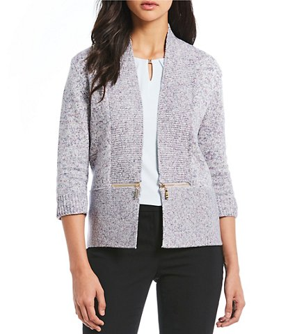 Ivanka Trump 3/4 Sleeve Zipper Trim Open Front Cardigan