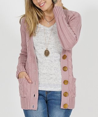 Mauve Cable-Knit Large-Button Cardigan - Women