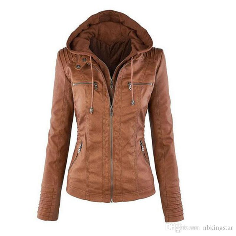 Womenu0027S PU Leather Jacket Hooded Lapel Zipper Pockets Removable Jackets  Coat Plus Size S 7XL Suede Jacket Windbreaker Jackets From Nbkingstar, ...