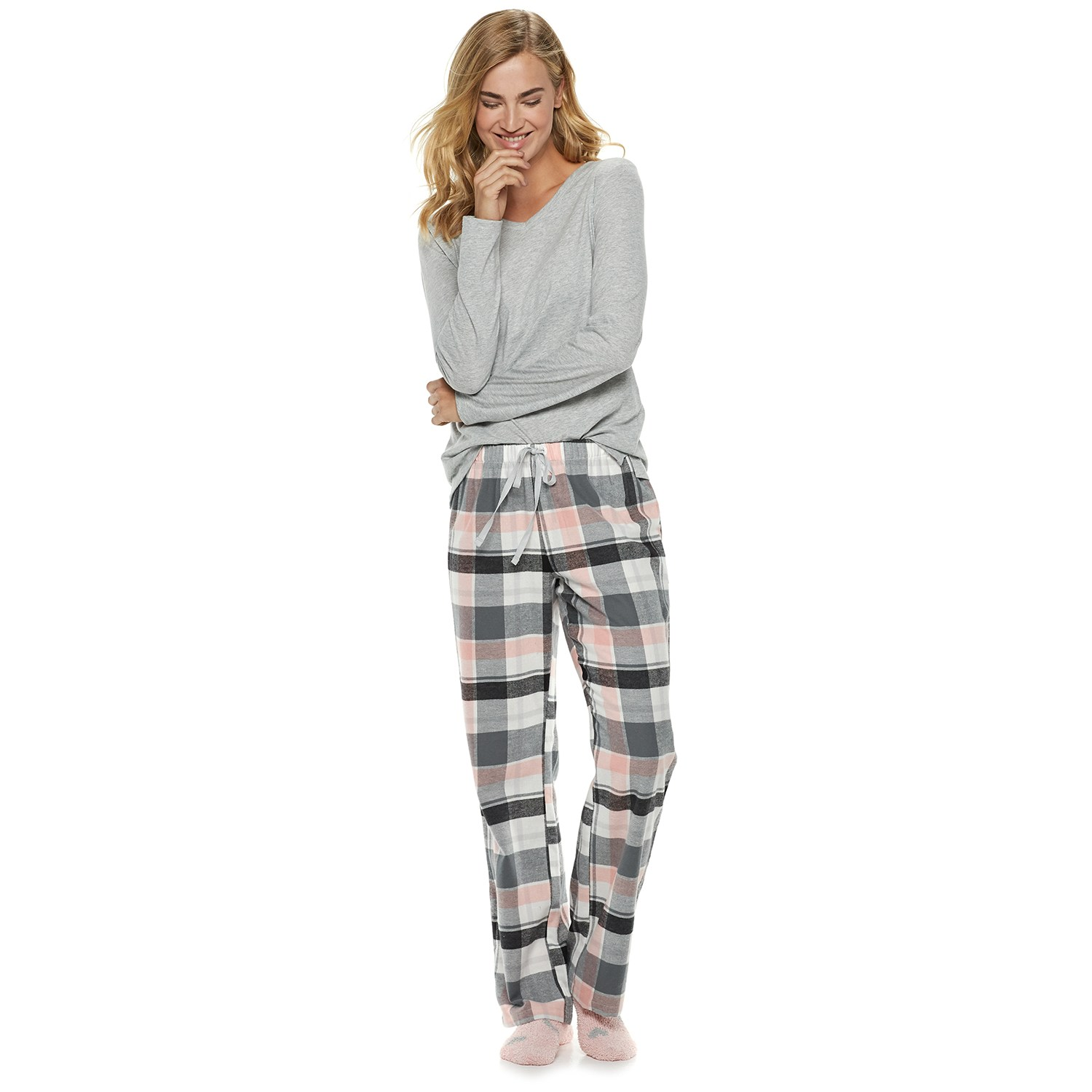 Womenu0027s SONOMA Goods for Life™ 3-Piece Tee, Pants u0026 Sock Pajama Set