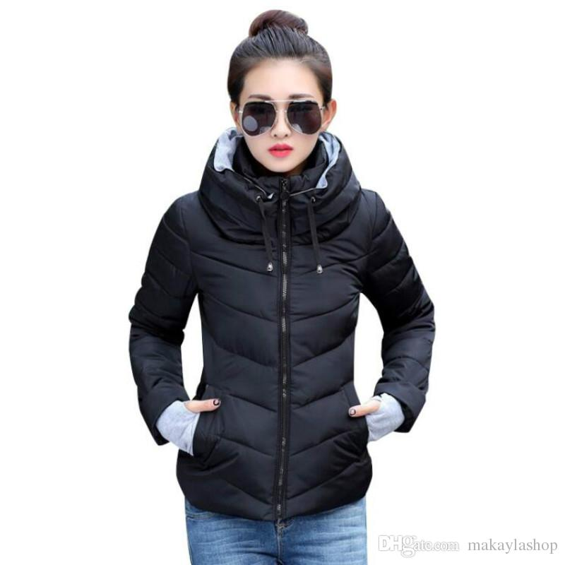 2019 Winter Jacket Women Plus Size Womens Parkas Thicken Outerwear Solid  Hooded Coats Short Female Slim Cotton Padded Basic Tops From Makaylashop,  ...