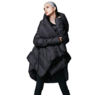 YVYVLOLO Womenu0027s Winter Jacket Cloak Loose Parka Warm Coat(FM1618-Black-M)