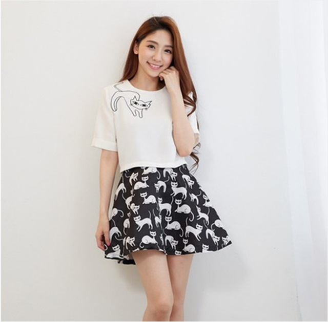 Spring Summer Fashion Women's Elegant Casual Skirt and Tops Two Piece Cat  Printed Women Clothing Twinset