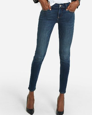 Express View · mid rise dark wash stretch+ skinny jeans