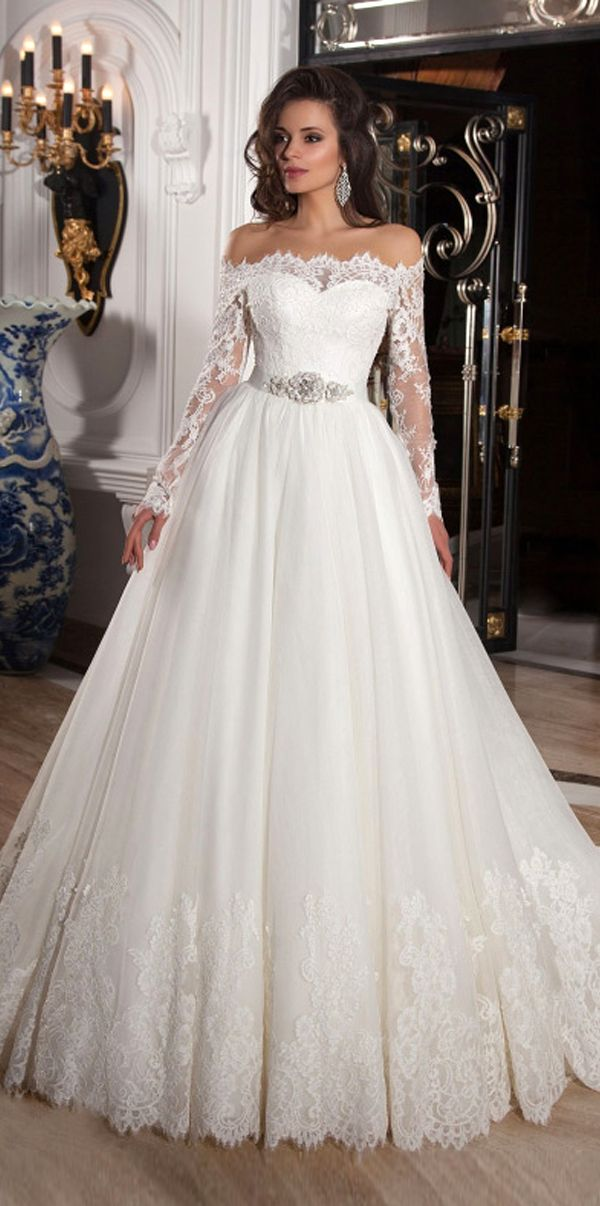 Elegant Tulle Off-the-Shoulder Neckline Ball Gown Wedding Dresses with Lace  Appliques | Bridal/Wedding | Pinterest | Wedding dresses, Wedding and  Wedding