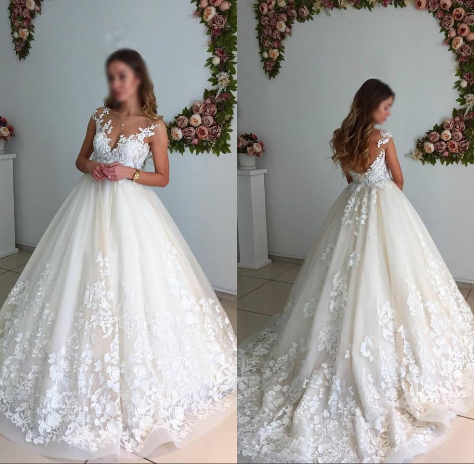 Gorgeous Ball Gown Lace Long Wedding Dresses,Elegant A-line Wedding Gowns ,Bridal