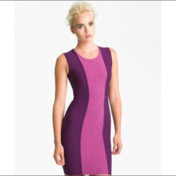 Bcbg Max Azria purple short bodycon dress.