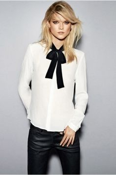 Business casual work outfit: white tie neck blouse, black skinnies.  Pussybow Blouse,