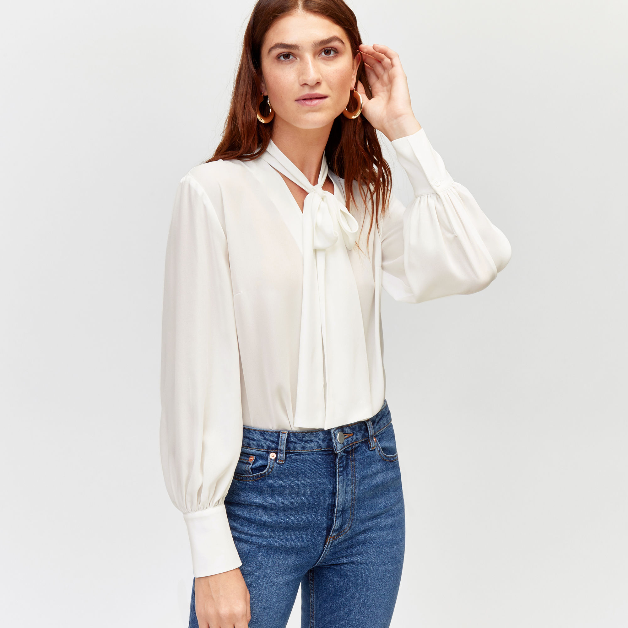 Warehouse, PUSSY-BOW BLOUSE Cream 1