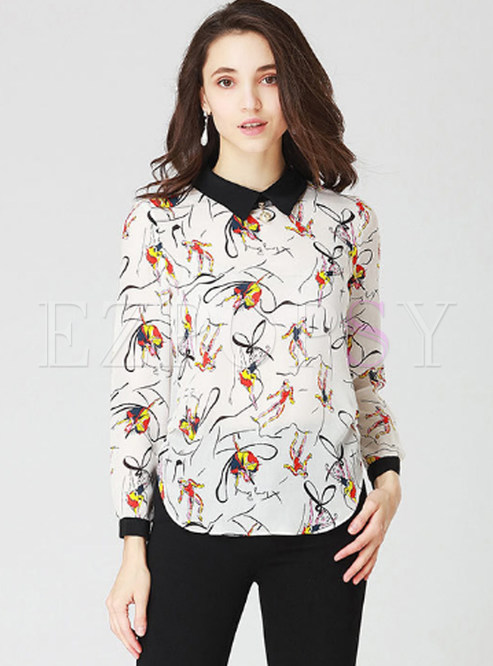 White Silk Print Turn Down Collar Blouse