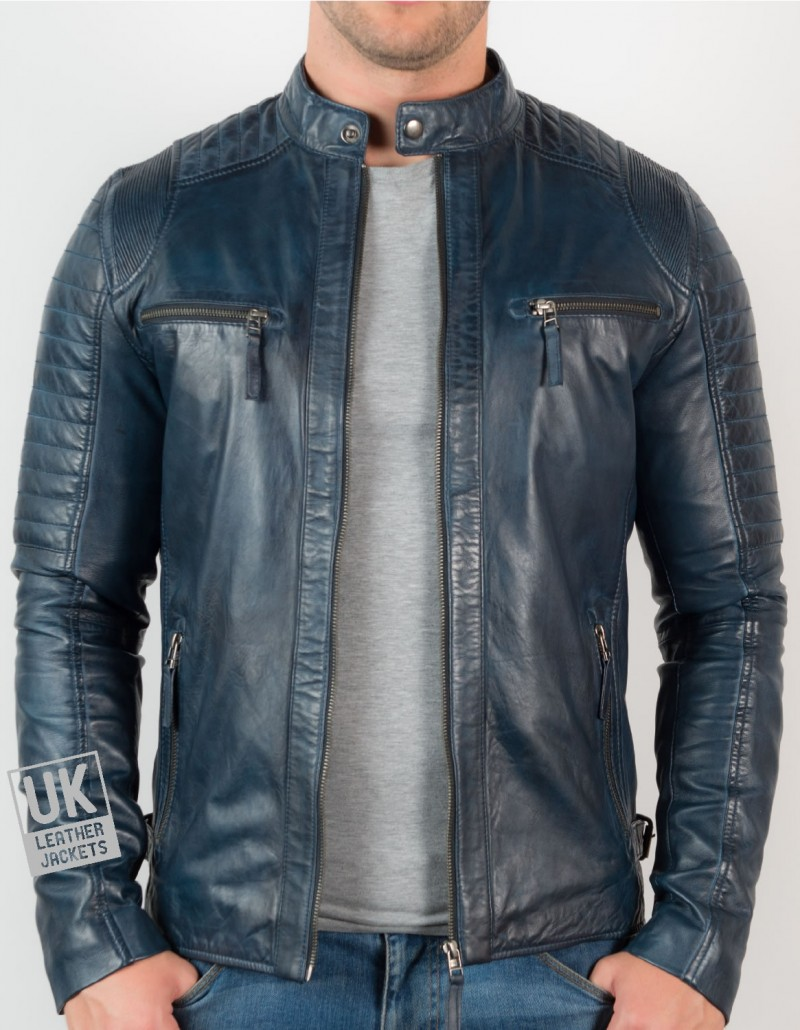 Mens Navy Blue Leather Biker Jacket - Cruz - Fron Unzipped
