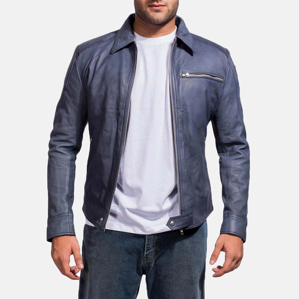 Mens Lavendard Blue Leather Biker Jacket 2