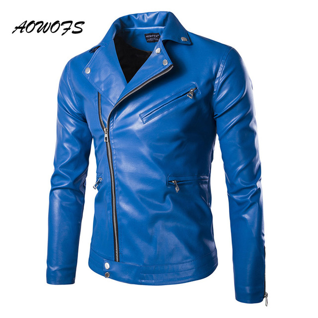 AOWOFS Mens Blue Leather Jackets Slim Fit Leather Blouson Jacket Coats  Designer Punk Leather Biker Jackets
