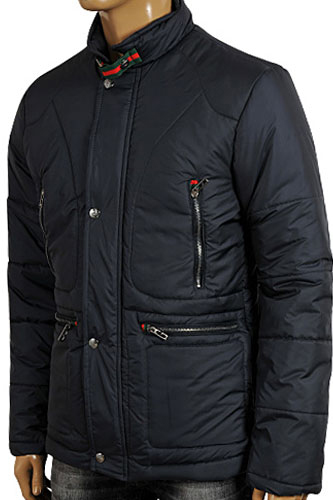 Mens Designer Clothes | GUCCI Men's Winter Warm Jacket In Navy Blue #133