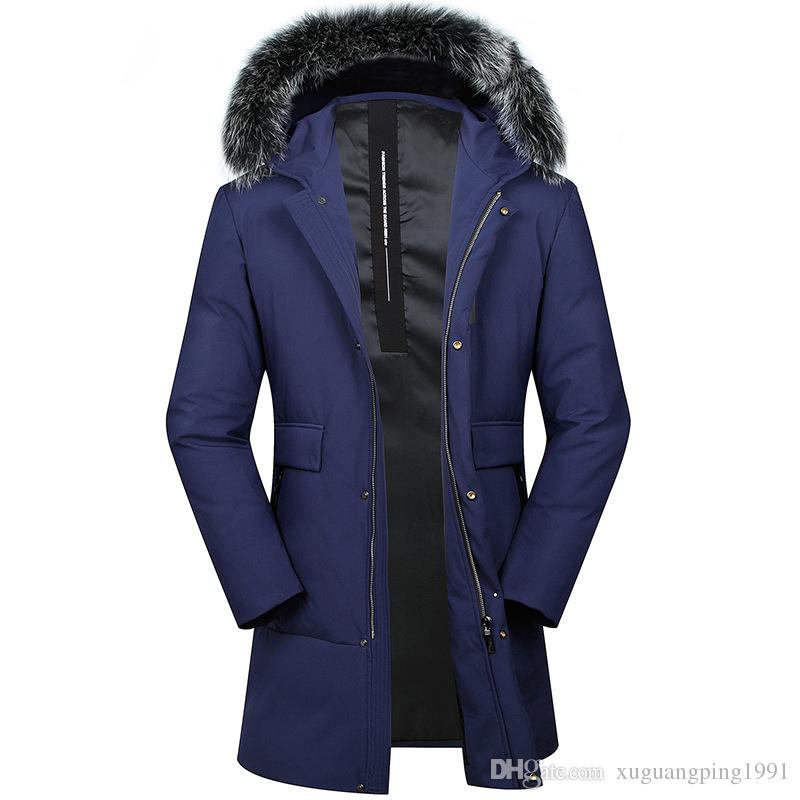 Brand Casual Blue Men Down Parkas Coat Fur Collar Hooded White Duck  Down Thick Jackets For