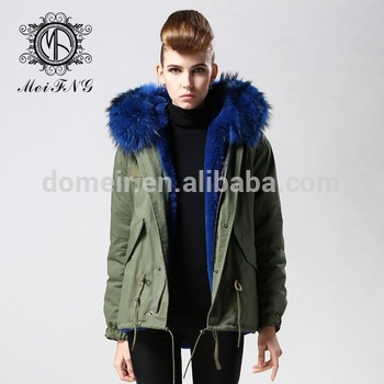 Removable blue fur collar trim strip parkas with warm soft touching,army  green parka for