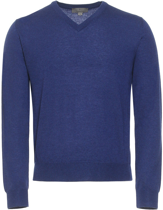 Canali Blue Cashmere V-neck Sweater-2_0