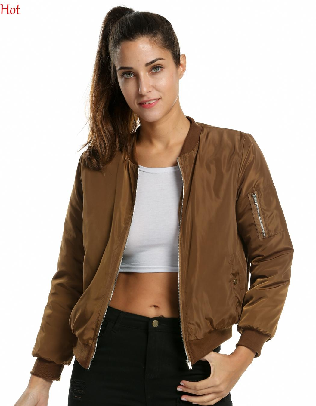2016 Hot Winter Flight Army Green Bomber Jacket Women Ladies Womens Coat  Clothes Short Thin Cotton Padded Bomber Coats Colors SVH031163 Leather  Jacket Sale