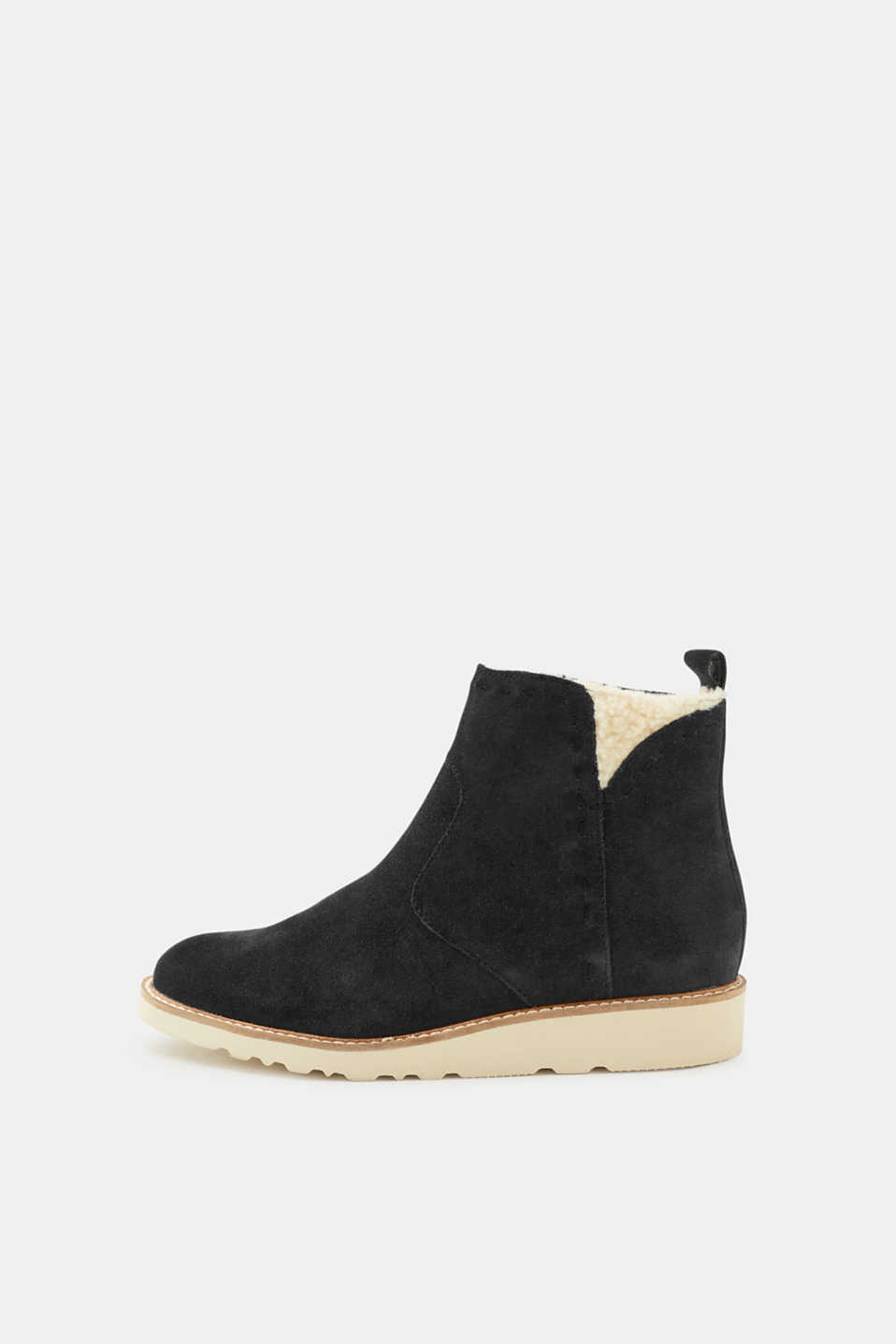 Esprit - Leather boots with teddy fur lining