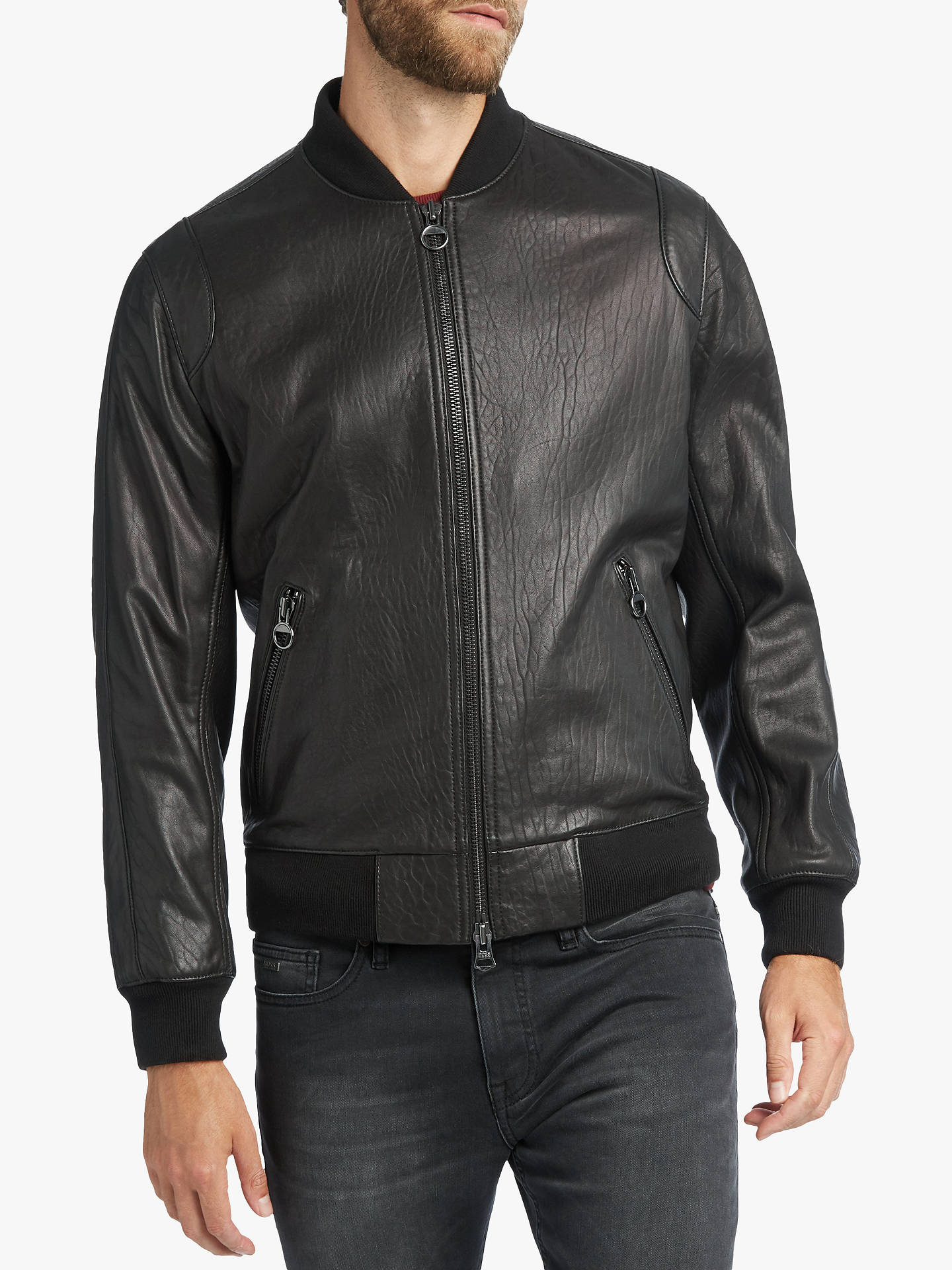 BuyBOSS Josiah Leather Jacket, Black, 38R Online at Traveller Location