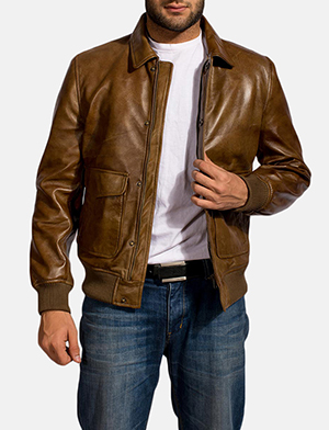 Mens Coffmen Brown Leather Bomber Jacket
