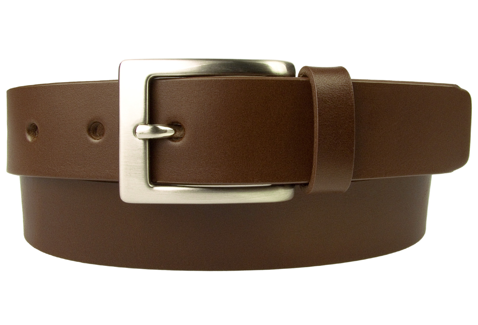 Mens High Quality Brown Leather Belt Made in UK | 30mm Wide | Hand Brushed  Nickel