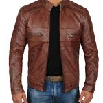 The brown leather jacket – always cool on the go
