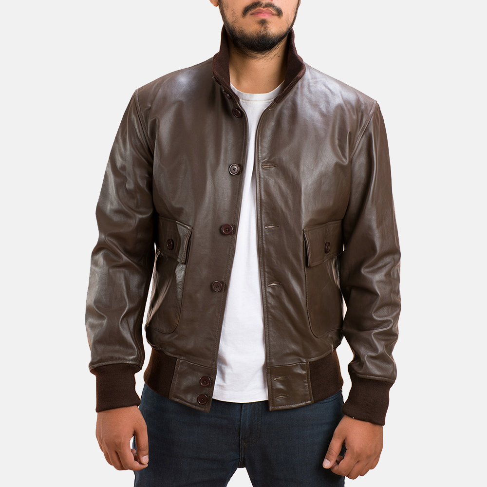 Mens Columbus Brown Leather Bomber Jacket 1