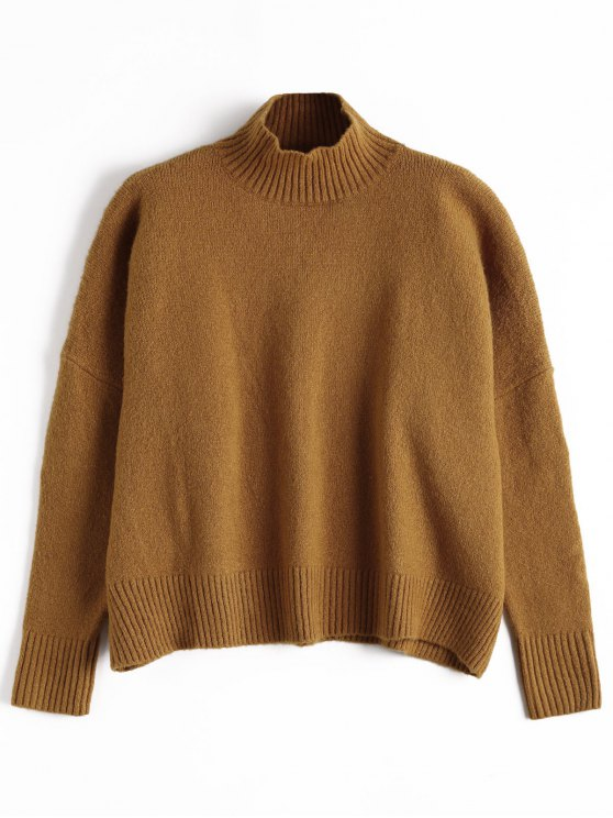 sale Ribbed Trim High Neck Sweater - BROWN ONE SIZE