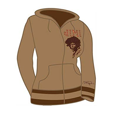 Jimi Hendrix Rhinestone Girls Jr Hooded Sweatshirt Medium Brown
