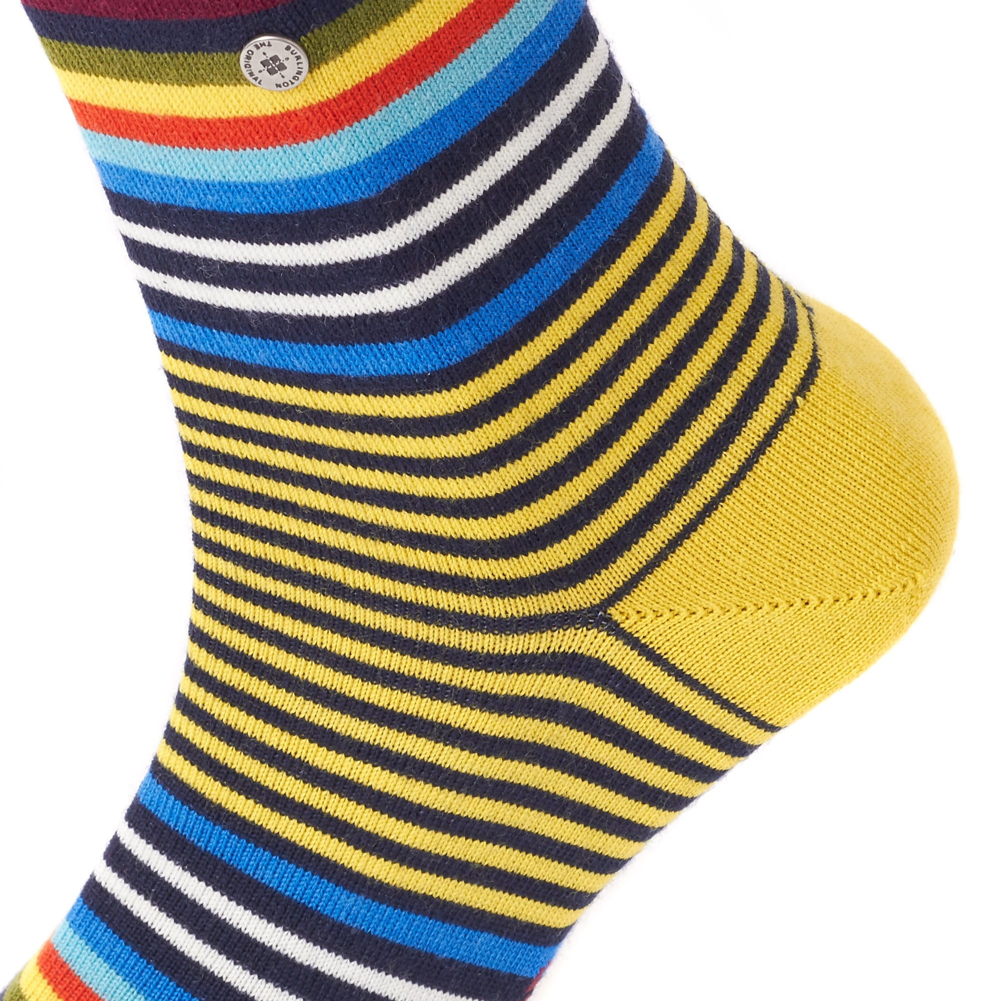 Marine & Yellow Multi Stripe Virgin Wool Socks