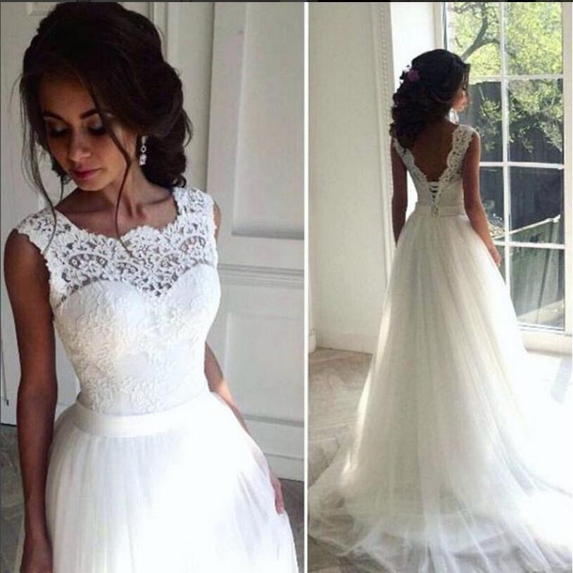 Lace Cheap 2016 Beach Wedding Dresses Crew A-line Tulle Bridal Dresses  Vintage Chic Long Wedding Gowns Wedding Dresses Wedding Gowns Bridal Dresses  Online