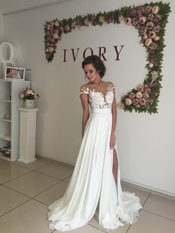 long chiffon wedding dress ,short sleeves wedding dress ,cheap wedding dress  ,beach wedding dresses,slit wedding dress ,WD1701 on Storenvy