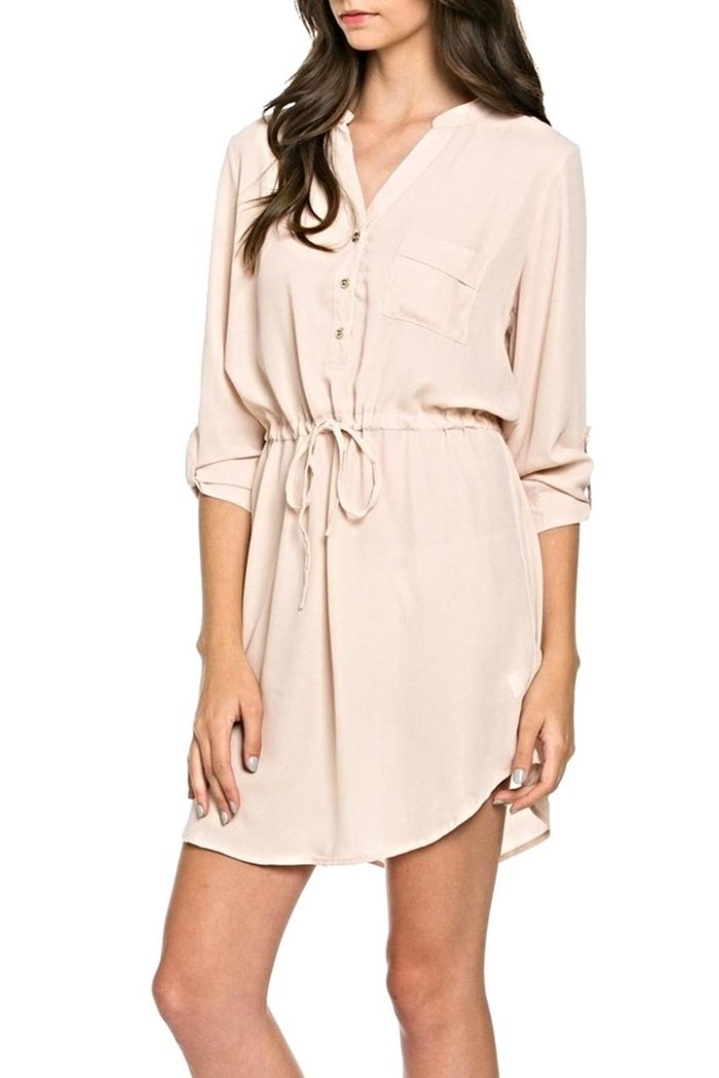 SV Drawstring Shirt Dress - Front Full Image