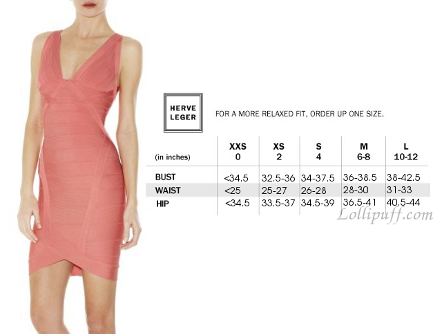 Herve Leger Sizing Guide