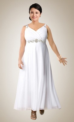 Chic Empire Ankle-length V-neck Beaded Plus Size Bridal Gown