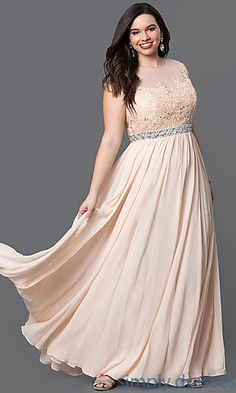 Floor Length Plus Gown with Lace Bodice Plus Size Formal Dresses, Plus Size  Outfits,