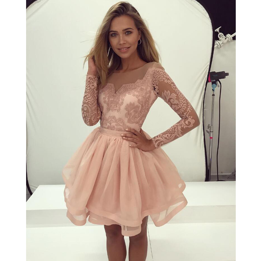 Short homecoming dress, long sleeves homecoming dress, lace homecoming dress,  cheap homecoming dress