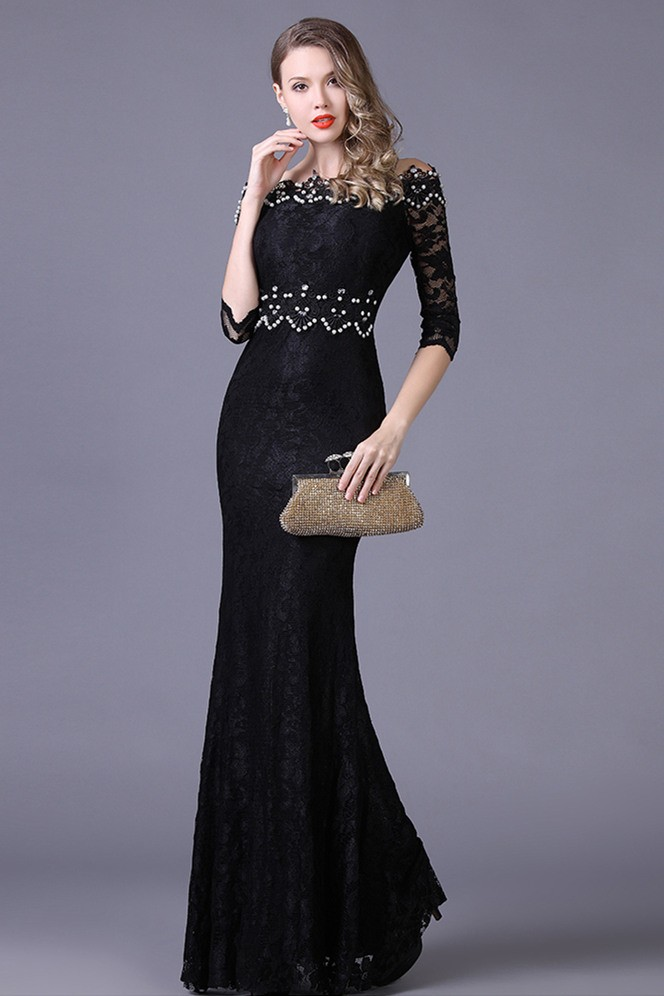 Mermaid Off The Shoulder Black Lace Beaded Special Occasion Evening Dress  With Sleeves