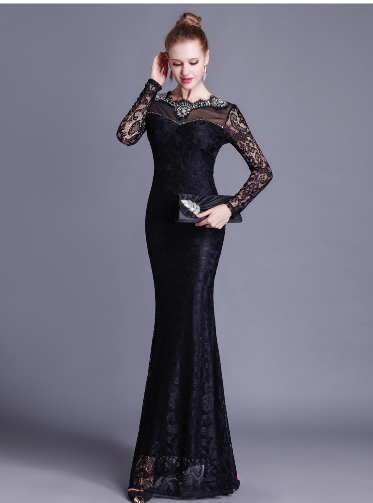 Gorgeous Mermaid Open Back Long Sleeve Black Lace Beaded Special Occasion  Evening Dress