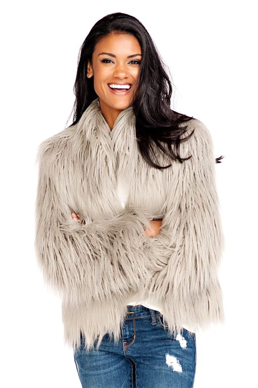 Grey Tibetan Lamb Fashionista Faux Fur Jacket - 1
