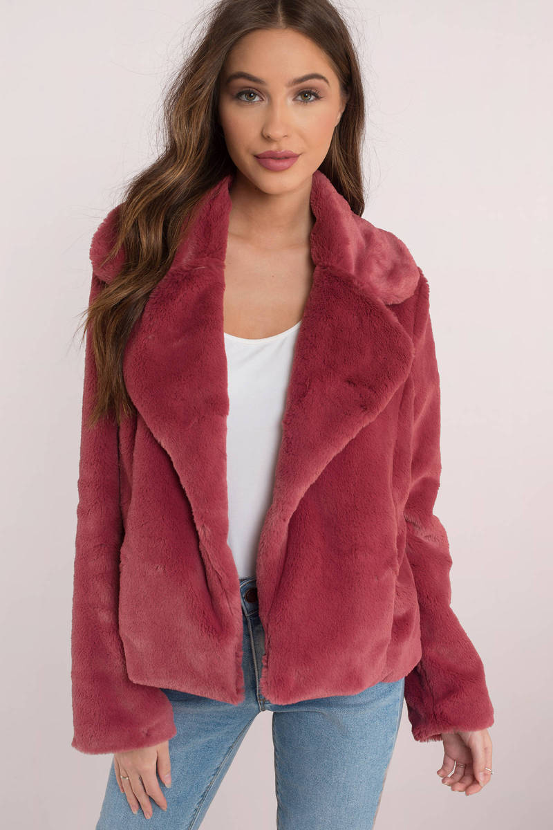 Cotton Candy Cotton Candy Bonfire Heart Mauve Faux Fur Jacket