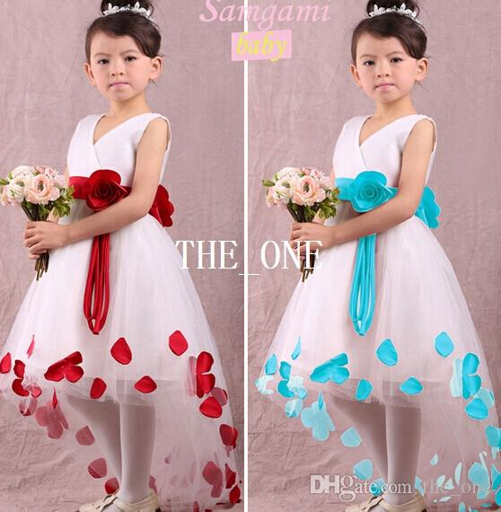 2019 Girl Flower Dress Ball Gown Frozen Dress Flowers Kids Lace Flower  Petal Dress Front Long Back Short Baby Formal Dresses For Wedding In Stock  From