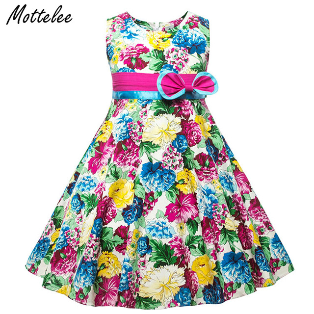 Mottelee Girls Dress Big Flower Kids Dresses Sleeveless Children Print  Frocks Bow Baby Wedding Party Clothing