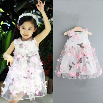 2018 Latest children net frock dress design flower kids girls party dresses  for sale